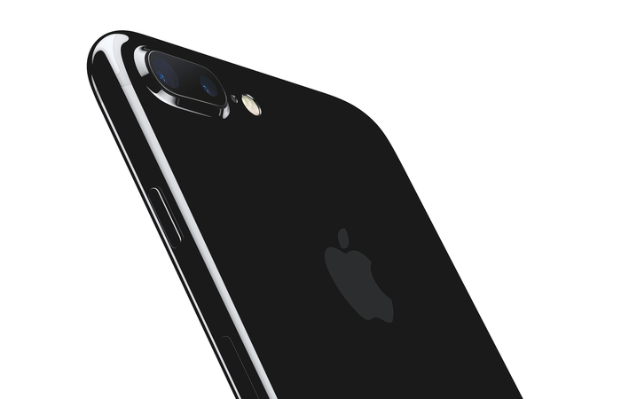 The back of a black Apple iPhone 7 Plus.