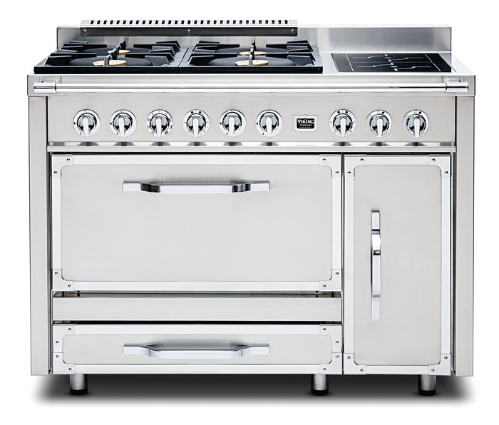 A stainless steel Viking Stove front.