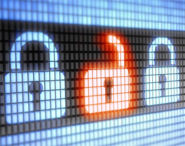 Digital padlocks symbolizing cyber security.