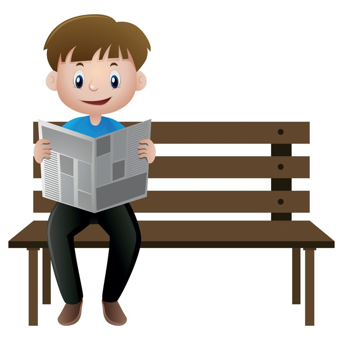 Cartoon image of a man reading a newspaper.
