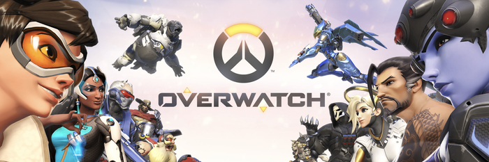 Overwatch game box art of characters facing each other from two sides with the title in the middle.
