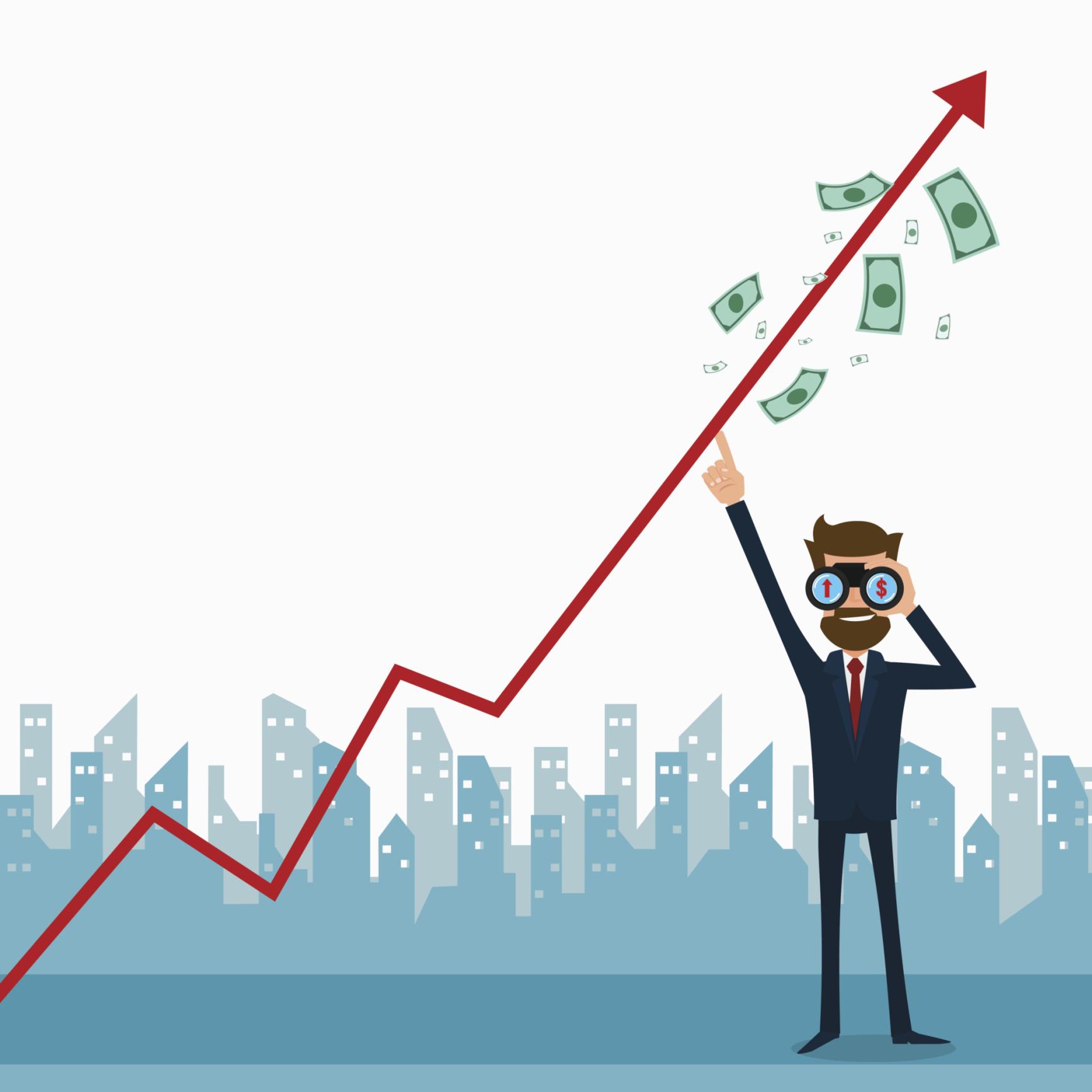 Cartoon figure with binoculars looking at stock chart.