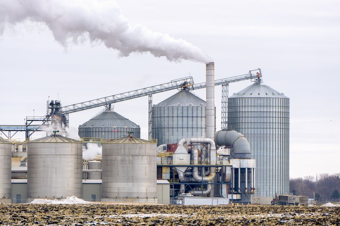 Steam rising from an ethanol production facility.
