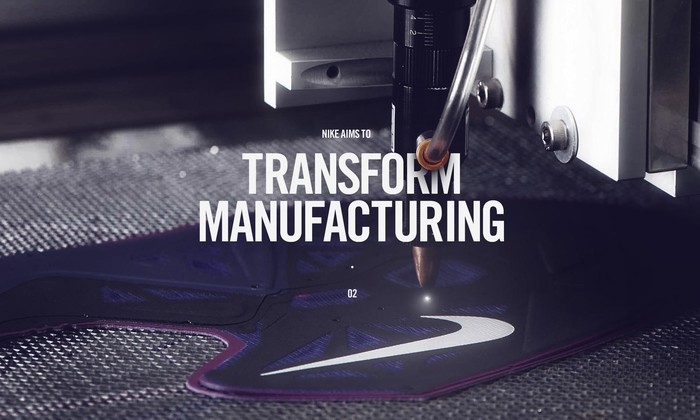 "An automated needle on a Nike logo with the text ""Nike wants to transform manufacturing."""