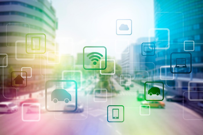 City street with icons overlaid representing Internet of Things connectivity.