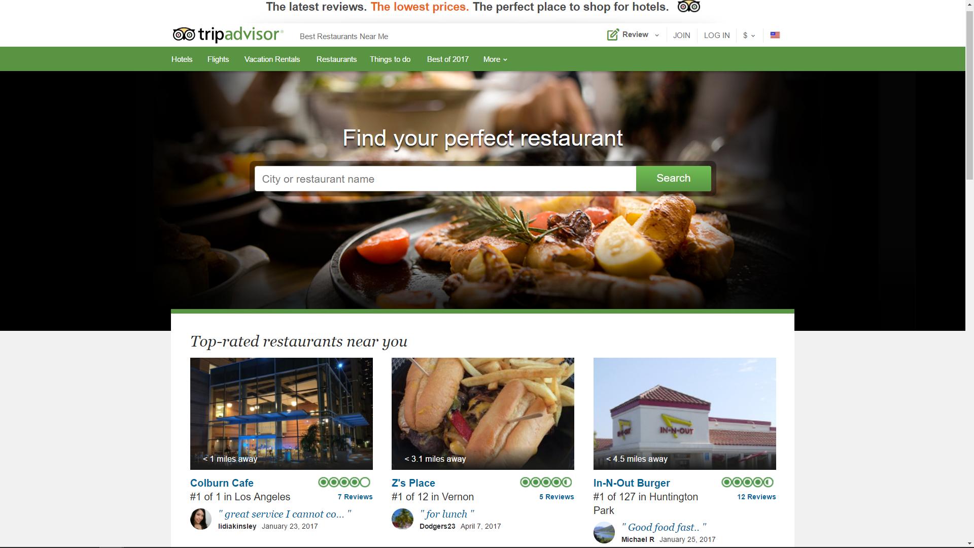 TripAdvisor restaurant page