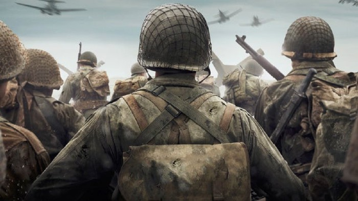Rear view of a group of soldiers