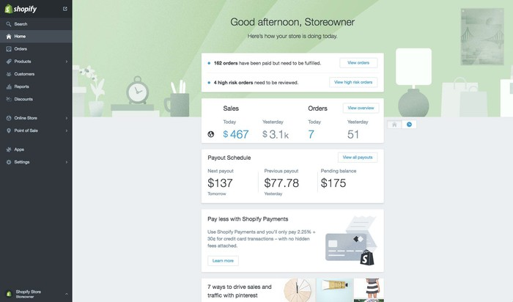 Screenshot of business analysis metrics on Shopify platform.