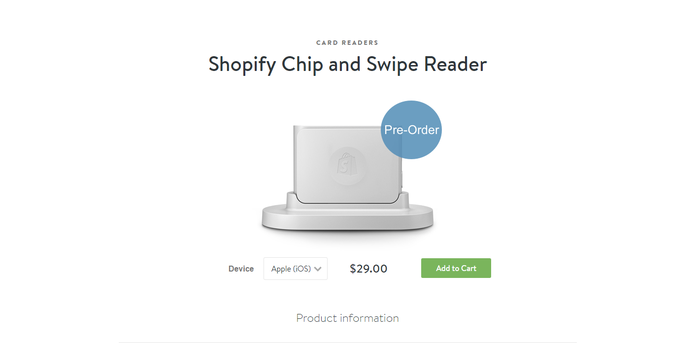 Shopify new chip and swipe card reader.