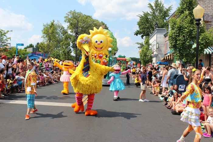 A parade featuring Big Bird at Sesame Place in Langhorne, Pennsylvania.