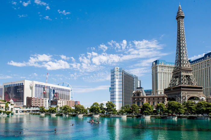The Las Vegas Strip's skyline shown during a partly cloudy sky.