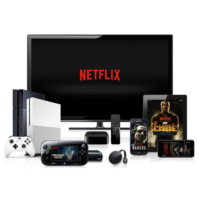 Various Netflix-supported devices displaying the company logo