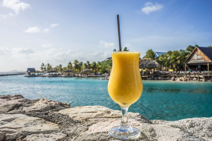 A fruity drink is positioned on a rock in a tropical setting.