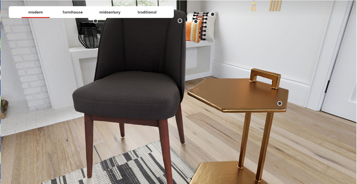 """Chair and table set on Target's """"360-degree shopping"""" page with highlighted items and menu"""