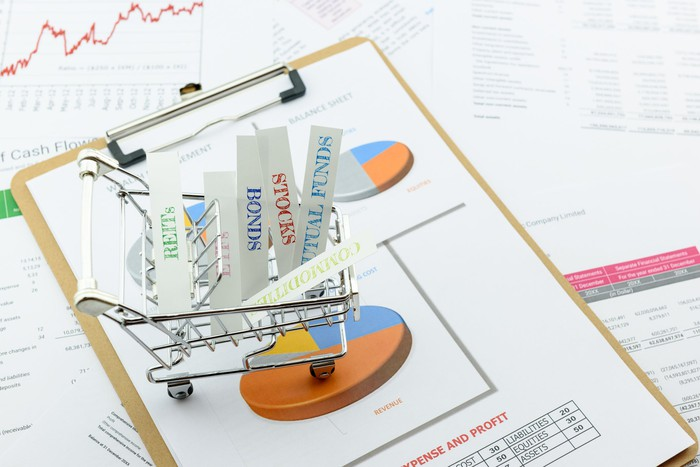 Asset allocation concept, with a shopping cart full of choices such as stocks and bonds