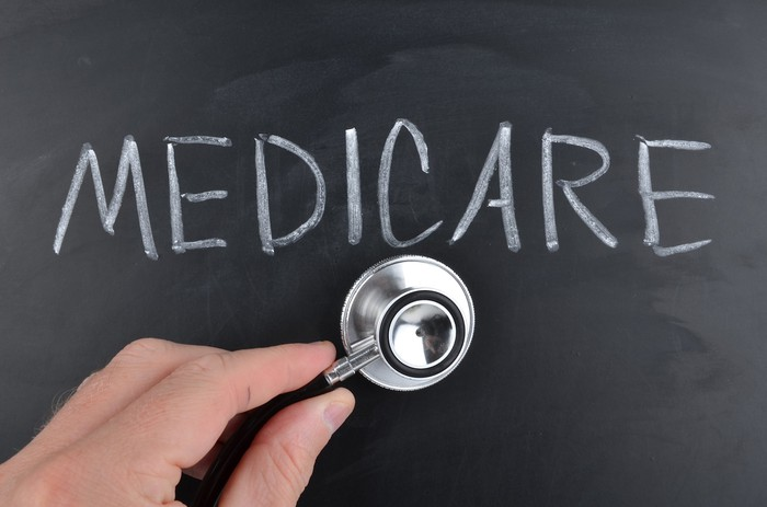 """blackboard on which """"medicare"""" is written, with a hand putting a stethoscope to it"""