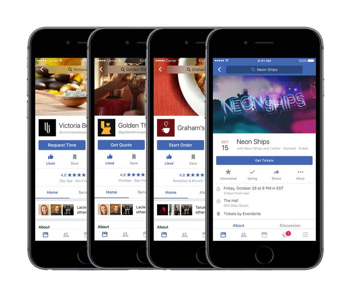 Examples of different ways Facebook hopes to connect users with local businesses