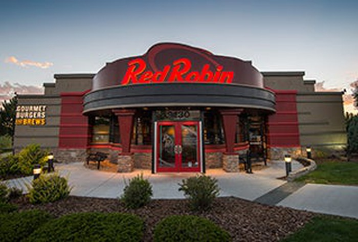 The front entrance to a new Red Robin restaurant.