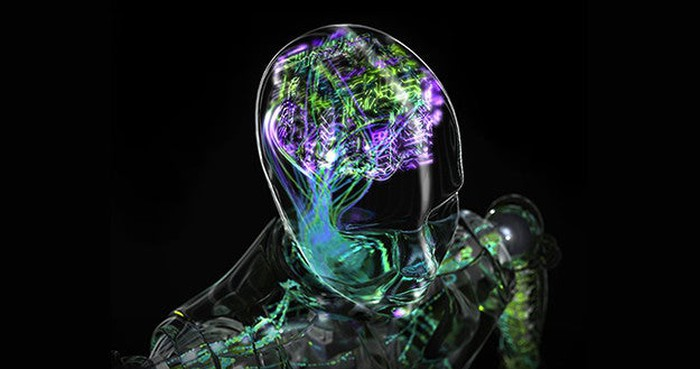 Artificial intelligence concept -- shows outline of human head with brain digitalized.