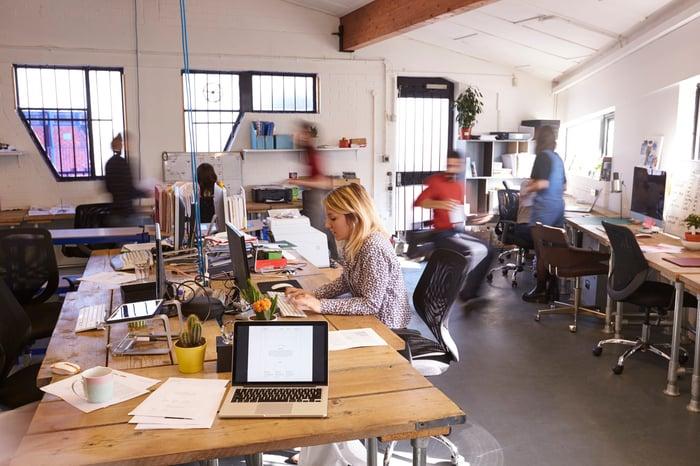 An open-office workplace