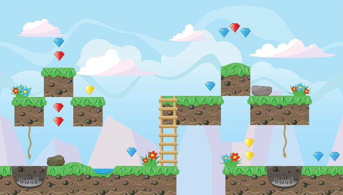 Image showing landscape for platform game design.