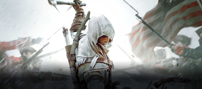 """Assassin character from Ubisoft's """"Assassin's Creed"""" franchise swinging an ax."""