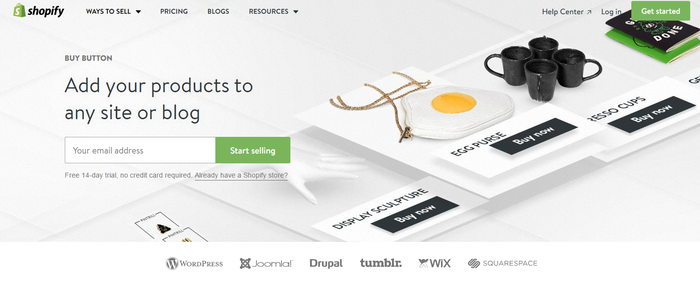 Shopify buy button embedded for blog sites.