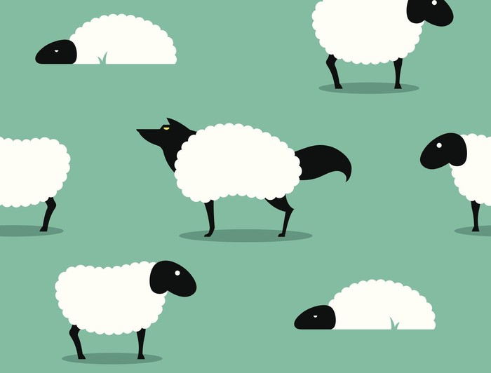 cartoon wolf in sheep's clothing