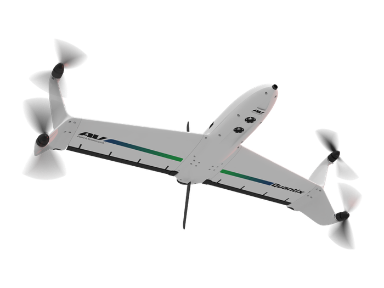 A Quantix commercial drone in flight.
