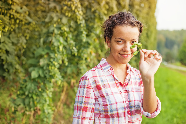 Girl holding hops