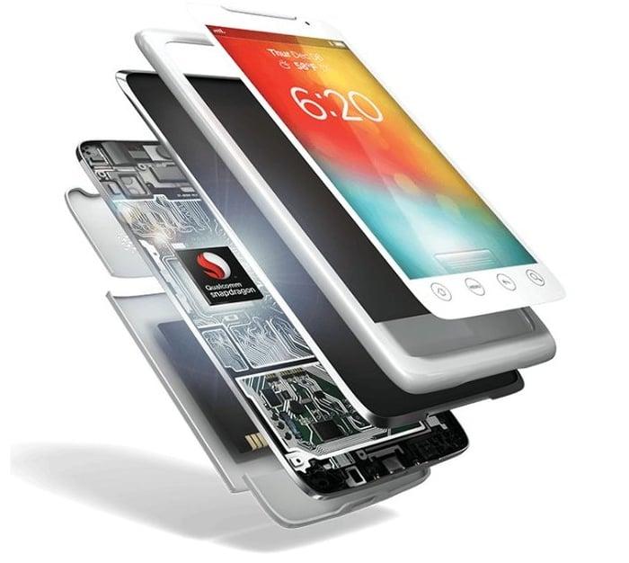 A cutaway of a smartphone revealing a Snapdragon processor inside.
