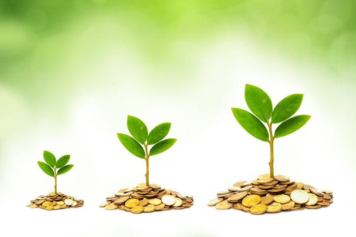 Green plants sprout out of progressively larger piles of coins.