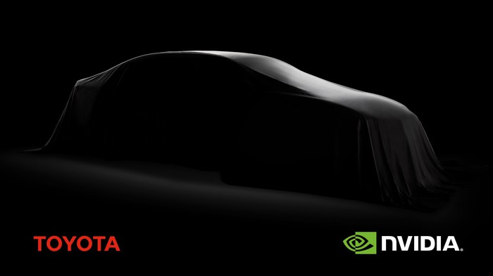 Silhouette of a car covered in a blanket against dark background with Toyota and NVIDIA logos at bottom corners.