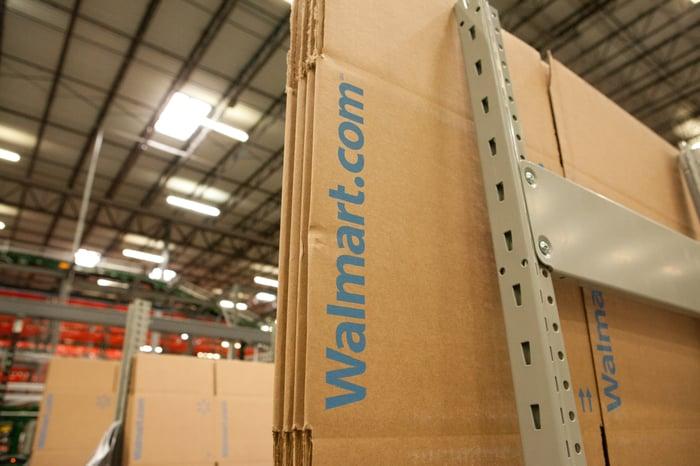 A Wal-Mart box in an e-commerce fulfillment center.