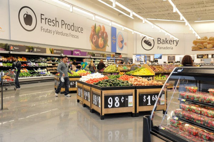The grocery section of a Wal-Mart store.