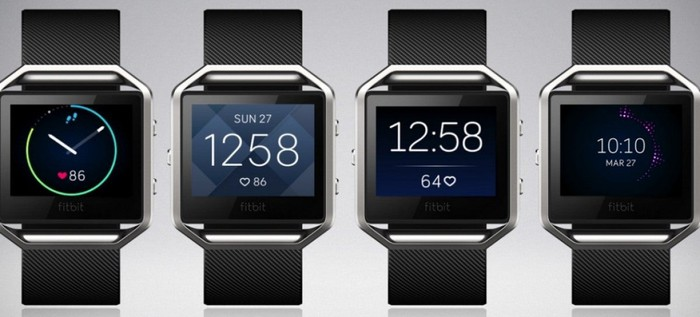 Four examples of the Fitbit Blaze.