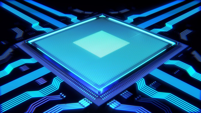 Computer processor glowing blue.