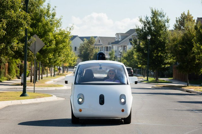 Small self-driving car, seen from the front