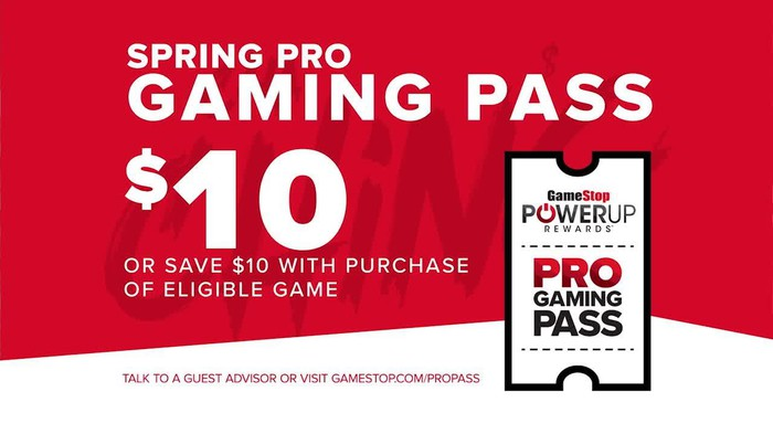 An ad for a springtime pass promotion at GameStop.