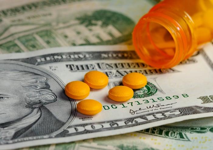 Generic pills on top of money.