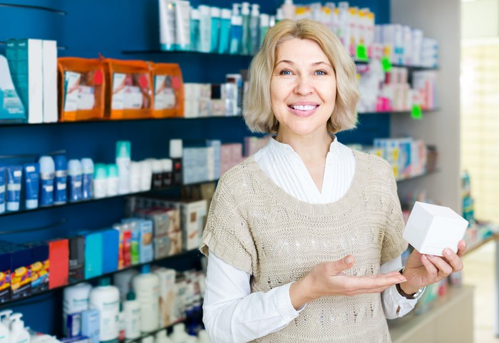 Woman with over-the-counter medication.