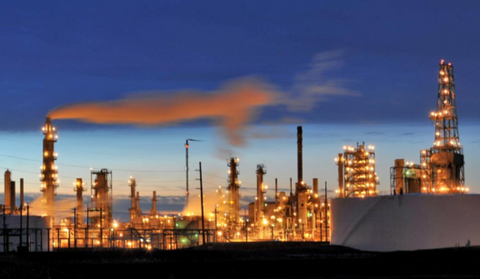 Smoke from an oil and natural gas processing facility.