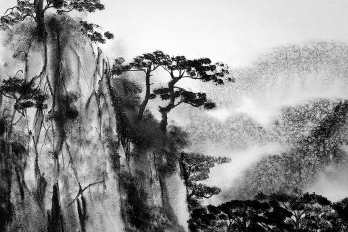 Taoist mountain drawing.