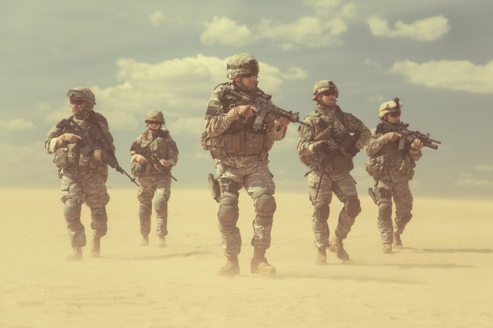 Infantry soldiers in the desert.