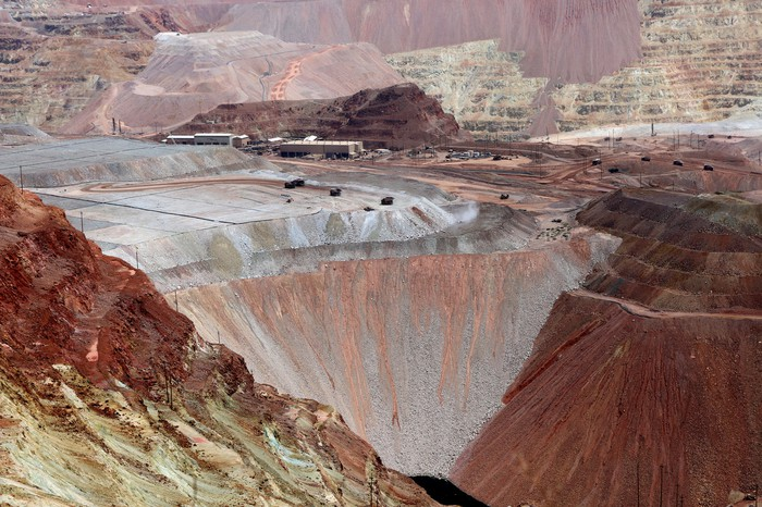 An open pit copper mine.