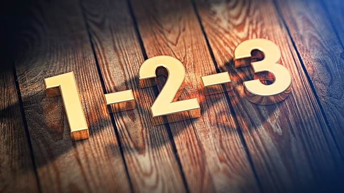 The numbers 1, 2, and 3 laid out on a wooden surface.