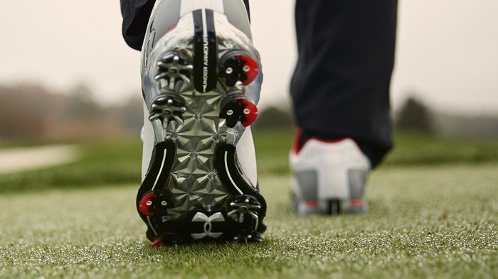 An Under Armour cleat.