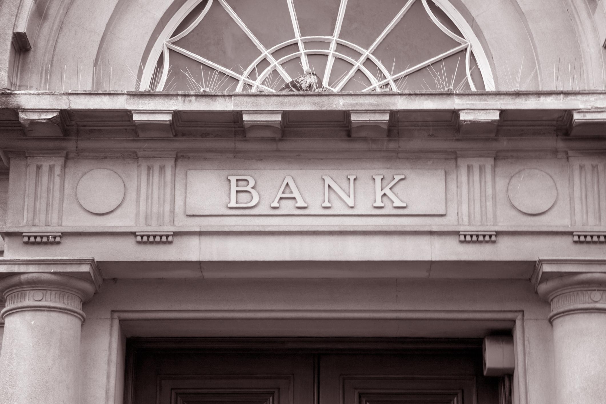 Entrance to a bank building.