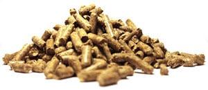A pile of Enviva wood pellets.