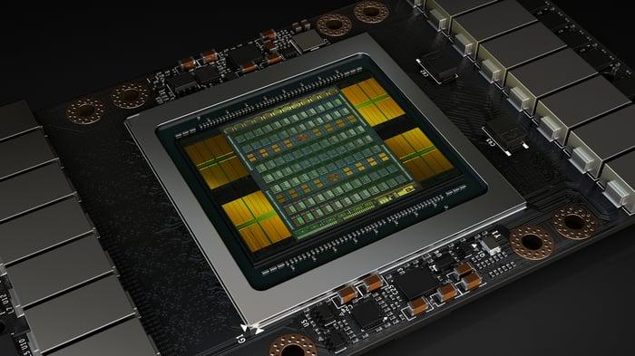Rendering of NVIDIA's Tesla V100 data center GPU